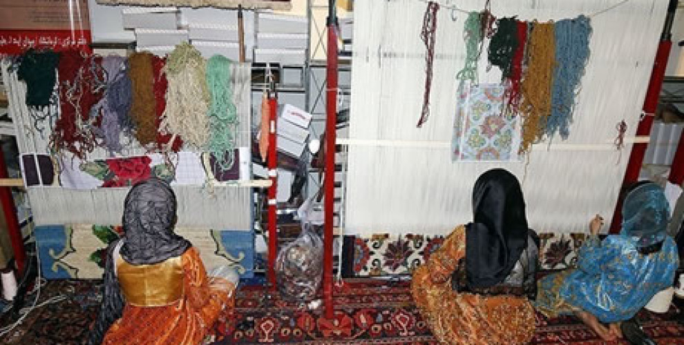 Carpet weaving women without work insurance in Iran